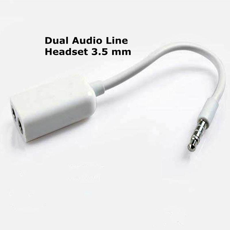 Dual Audio Line Headset 3 5 mm Jack Earphone Splitter 1 In 2 Couples Lovers  Adapter For iPhone MP3 MP4 Portable Media Player