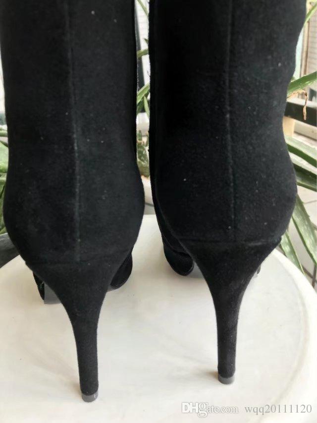 0012018 Outono / primavera mais novo das mulheres de couro preto real de ouro de metal fivela de salto alto Apontou Toe zip up curto ankle boots