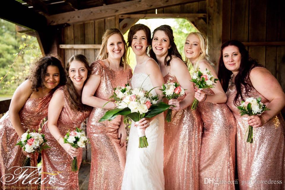 Real Photos Sequined V-neck Long Rose Gold One Shoulder Bridesmaid Dresses Floor Length Sleeveless Maxi Multi Styles Wedding Party Dresses