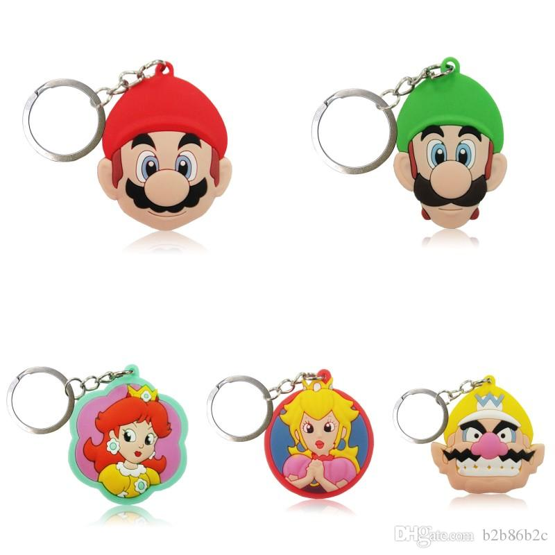 Wholesale Order Super Mario Luigi Daisy High Quality Bright Color Cartoon  PVC Keychain Key Ring Bag Cute Accessory Kawaii Party Favor Cute Keychains  Leather ... 5e594a930