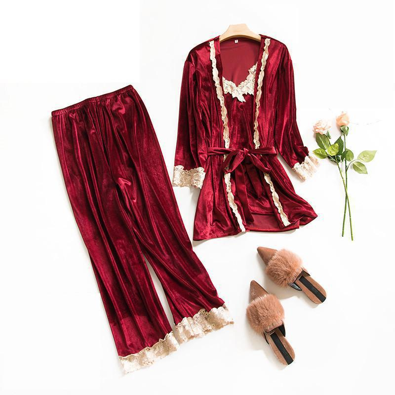 3bd88e1fcc7f 2019 Burgundy Women Velvet Sleepwear Sexy Pajamas Set Autumn Winter Thick  Nightwear Warm Cami Pants Robe Home Clothes M L XL From Pagoda