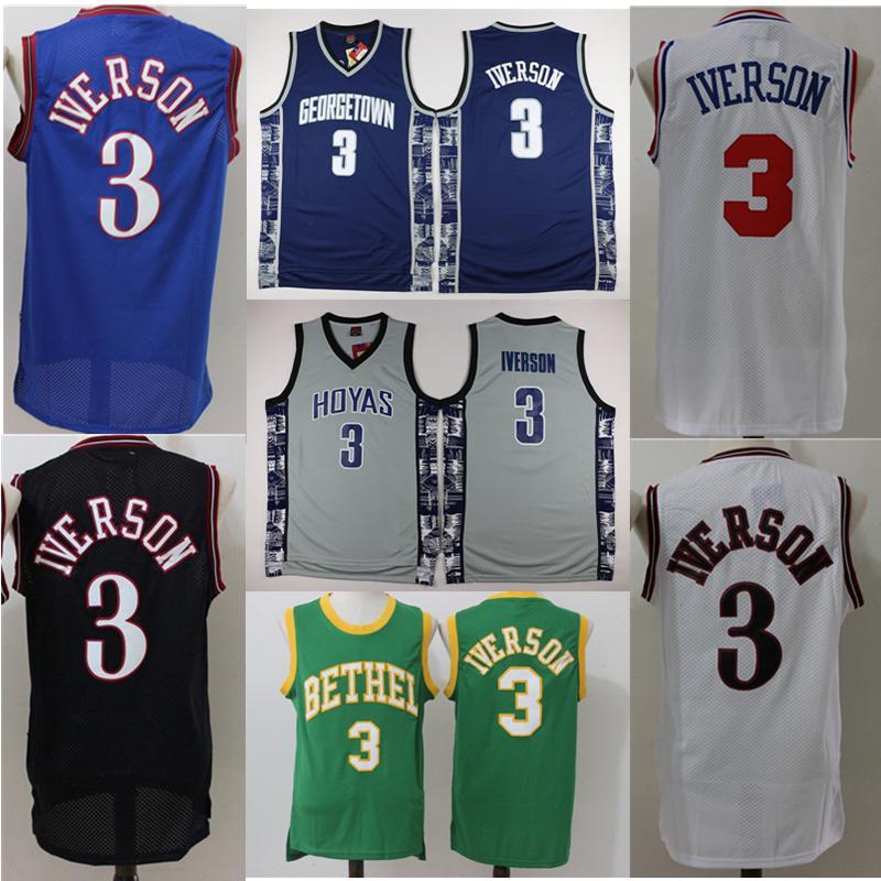 73ad22b896d Georgetown Hoyas College Allen Iverson Jersey Bethel High School 3 Allen  Iverson 100% Stitched Basketball Jersey