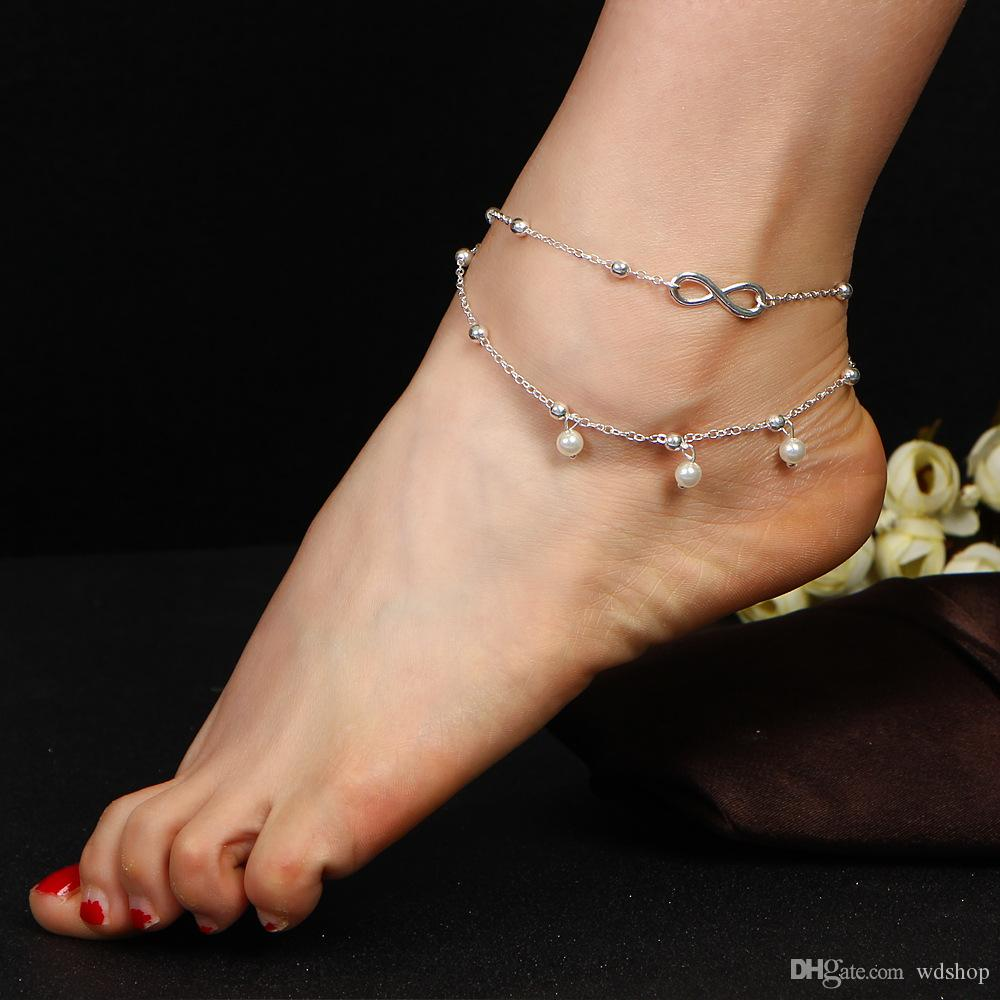 8dc255a43e8 2019 Anklets Simulated Pearl Infinity Charm Beads Ankle Bracelets For Women  Leg Chain Barefoot Sandals Foot Jewelry Accessories From Wdshop