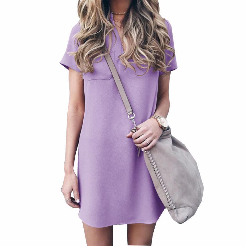 Summer Women Solid Loose Dresses Short Sleeve V Neck Mini Sundress 5XL Plus  Size Dresses 2018 Casual Shirts Pocket Dress GV245 Summer Dress Short  Dresses ... bd9c1ba8d