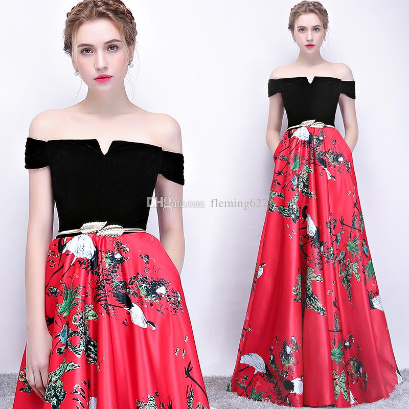 c5263c4a55e73 Sexy women Party Dress Off The Shoulder Long Chinese style Formal Party  Gowns female vestido de festa longo summer sweet banquet robe
