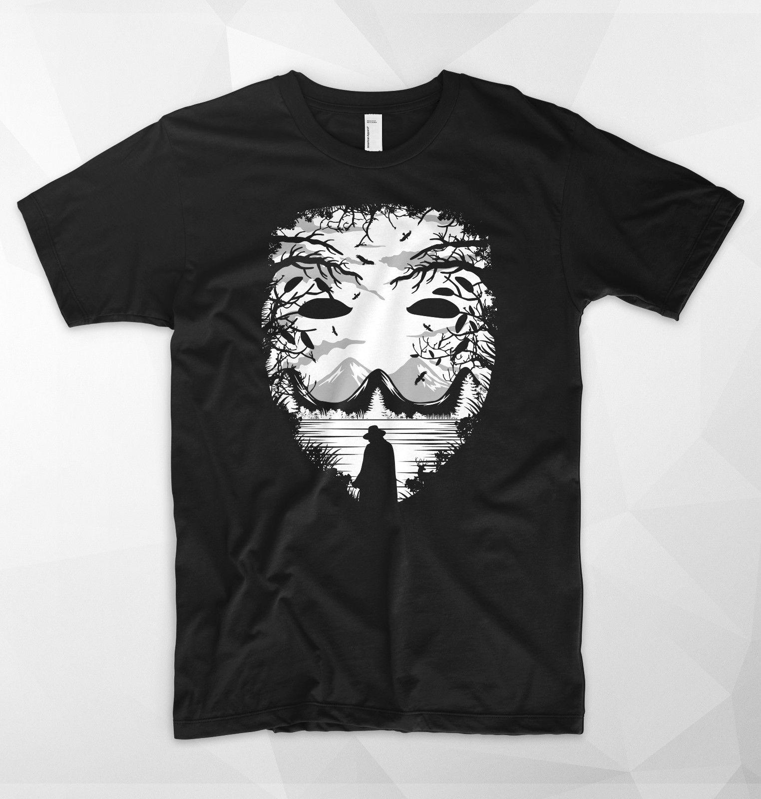 Mask Anonymous T Shirt Top V For Vendetta Guy Fawkes Mountains Temple Nature Summer 100% Cotton Short Sleeve Tops Tee Free shipping tees