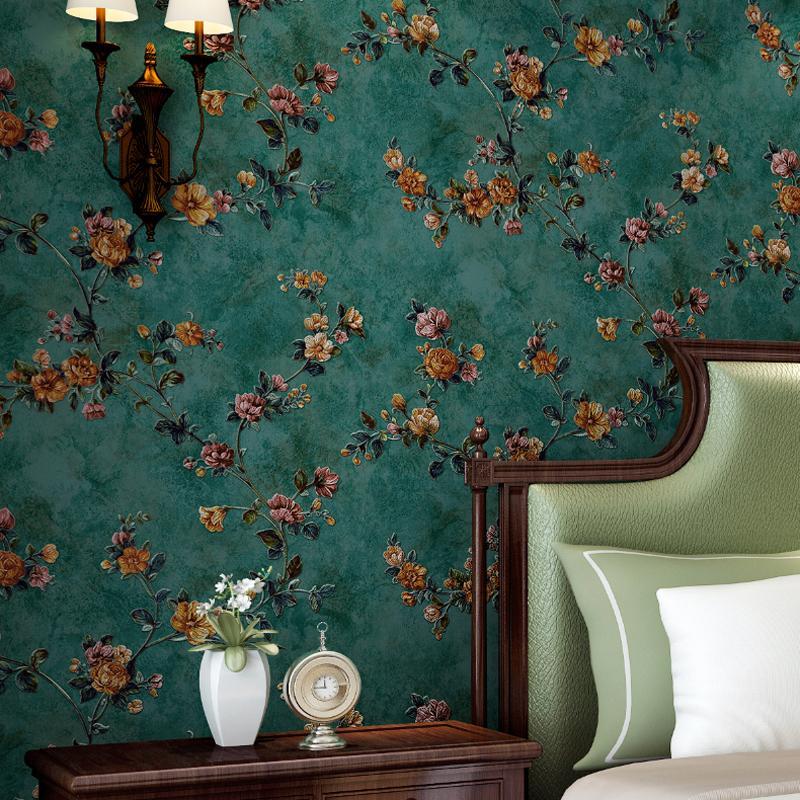 Grüne Pastorale florale Vliestapete 3D geprägte Wohnzimmer Sofa  Schlafzimmer TV Hintergrund Wand Dekor Wandbild Tapete Blume