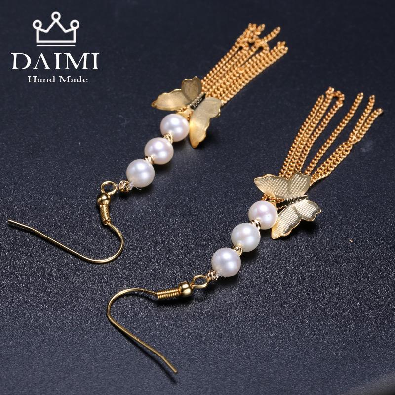 2d47335ee28b DAIMI Pendientes de Borla de Moda 5-6mm Perla de Agua Dulce Pendientes  Largos Diseños de Joyas Mariposa Colgando Estilo Romántico