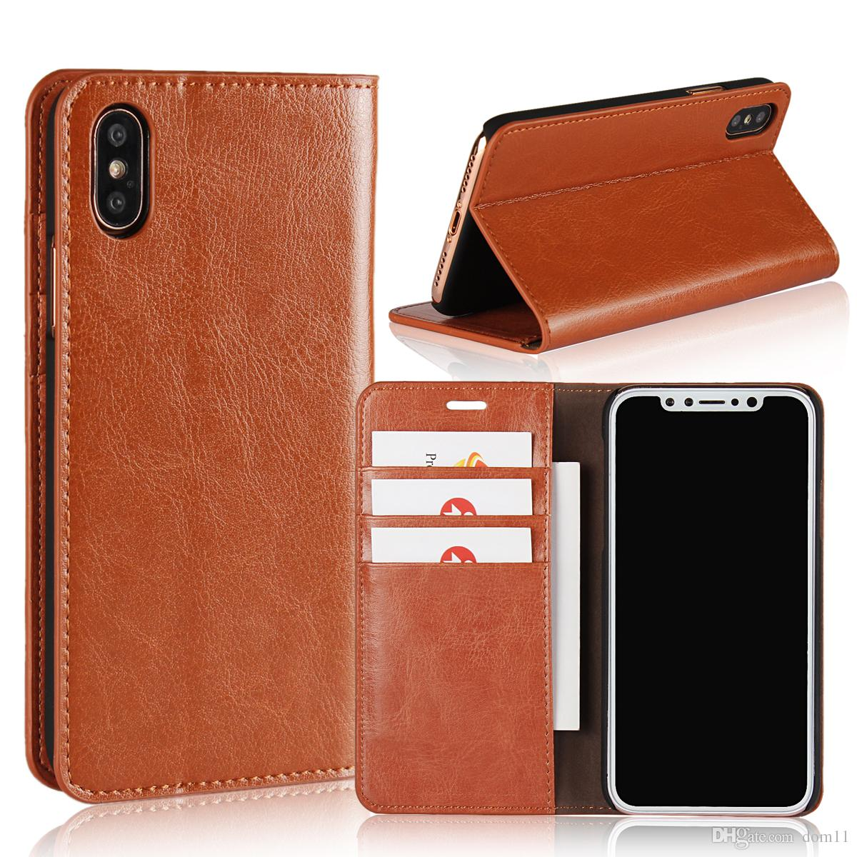for iPhone x 8 7 plus case luxury handmade Genuine leather multi-function wallet kickstand card slot flip cover for apple iphone x