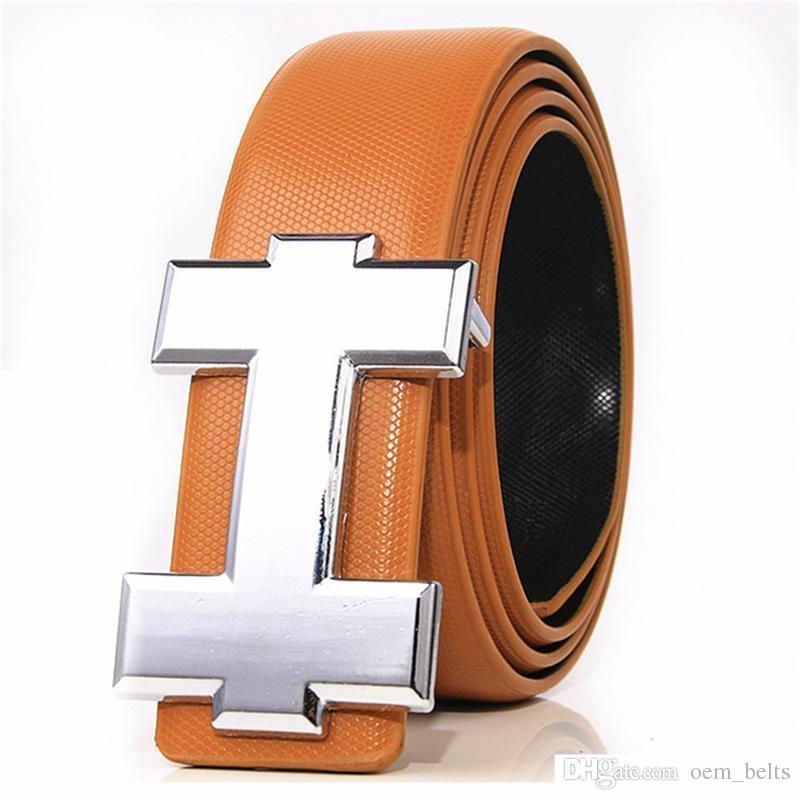 Cinturón de moda Cinturón de cuero para hombre Cinturón de hebilla lisa para hombre de buena calidad Para mujer Cinturón Jeans Correa
