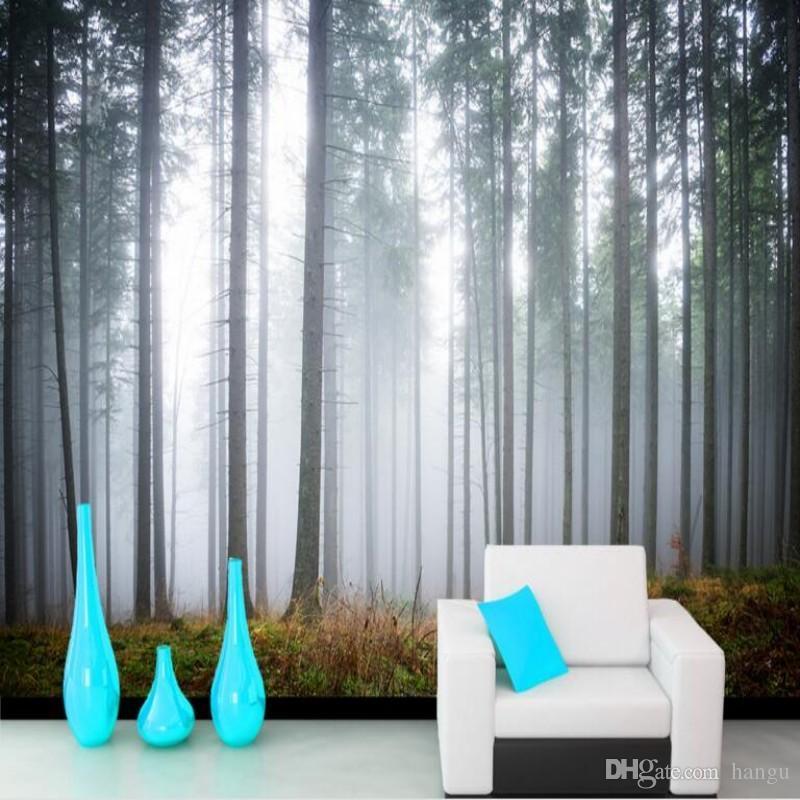 Großhandel Beibehang Benutzerdefinierte 3D Tapete Wald Morgen Nebel ...