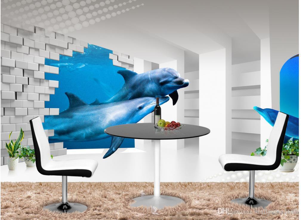 3d fondo de pantalla decoración mural Foto telón de fondo 3d mundo submarino ajuste de TV estéreo delfín columna romana