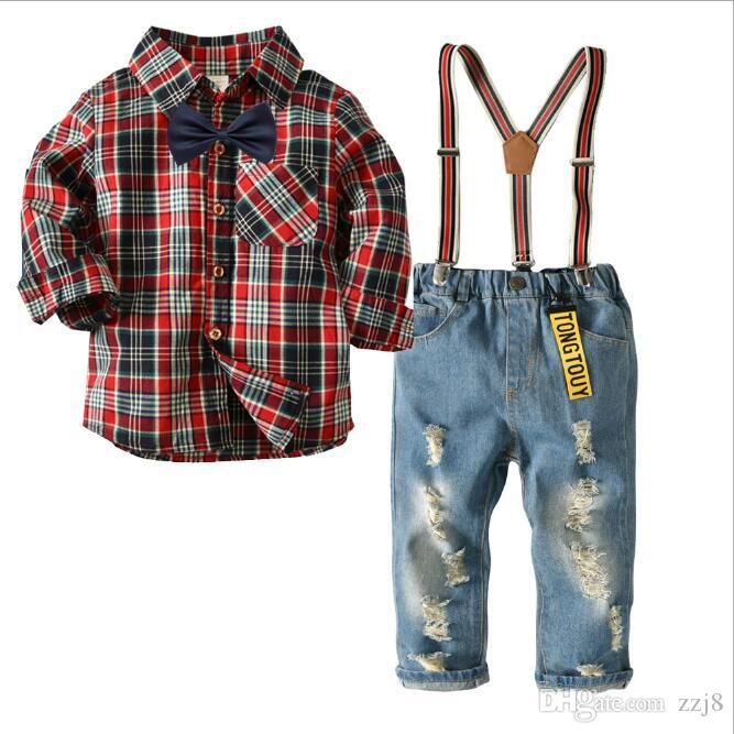 7f82d2f3751b6 Gentleman Baby Boy Suspenders Outfit Suit Autumn Cotton Clothes Sets Grid  Shirt and Strap Pants for Kids Free Shipping