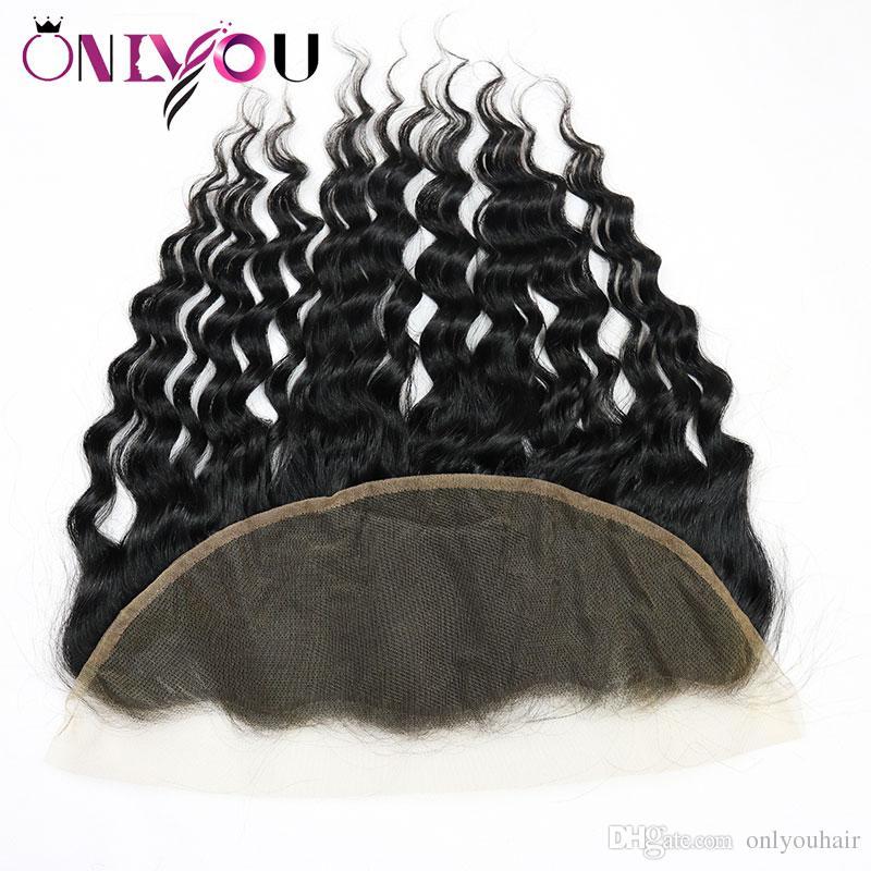 Water Wave Extensiones de cabello humano 13x4 Parte libre de encaje Frontal Barato Brasileño Virgen traje de cierre de pelo para paquetes de onda natural con frontal