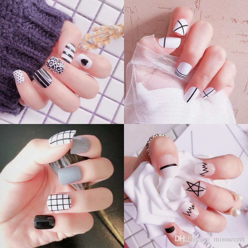 Hot 64 Styles 3D Fake Nails Sexy French Cute Cartoon Full Cover Acrylic Nails Salon Nail Supplies Nail Art Tool 24pcs/Set