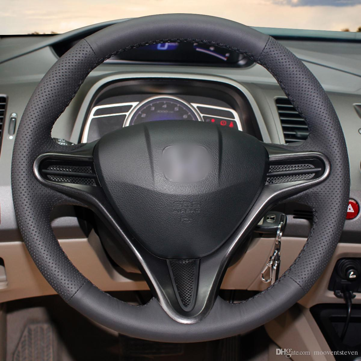 1 DIY Mewant Black Artificial Leather Steering Wheel Cover Wrap For Honda  Civic 8 Civic 2006 2007 2008 2009 2010 2011 3 Spoke Silicone Steering Wheel  Cover ...