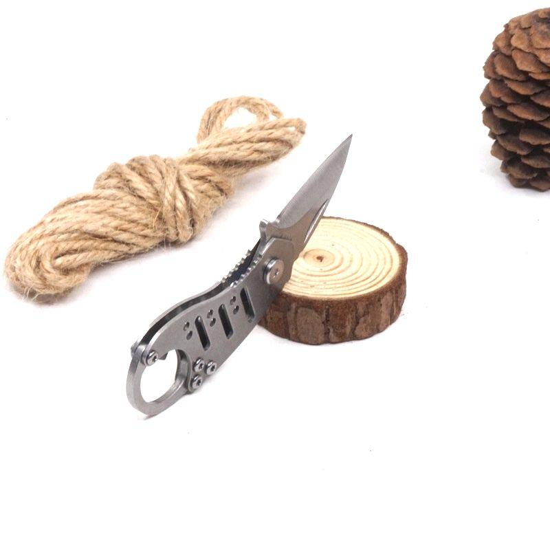 Mini Folding Pocket Knife EDC Key chain Outdoor Survival Knife Bottle 0pener Lanyard Hole Stone Wash Camping Multi Tools Knives