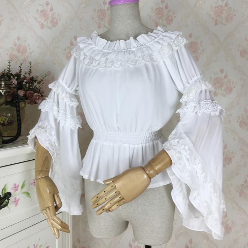 Cheap Original Lolita White Black Long Sleeve Chiffon Lace Shirt