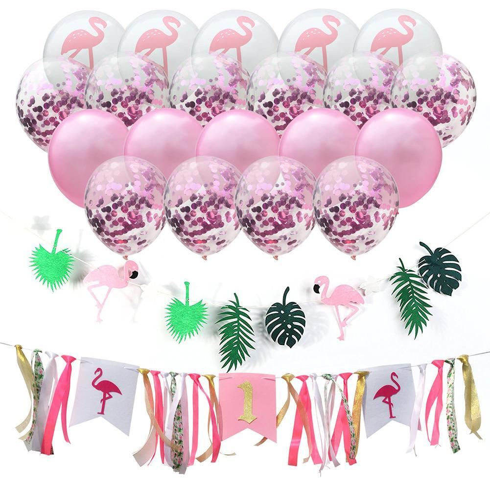1st Birthday Balloons Flamingo Ribbon Dining Chair Feather Bunting Hawaiian Tropical Party Decoration Canada 2018 From