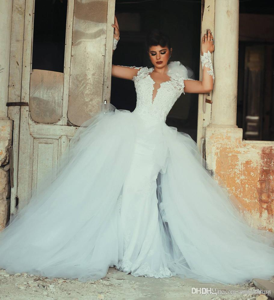 Discount Detachable Train Wedding Dress Open Back Long Sleeve Jacket ...