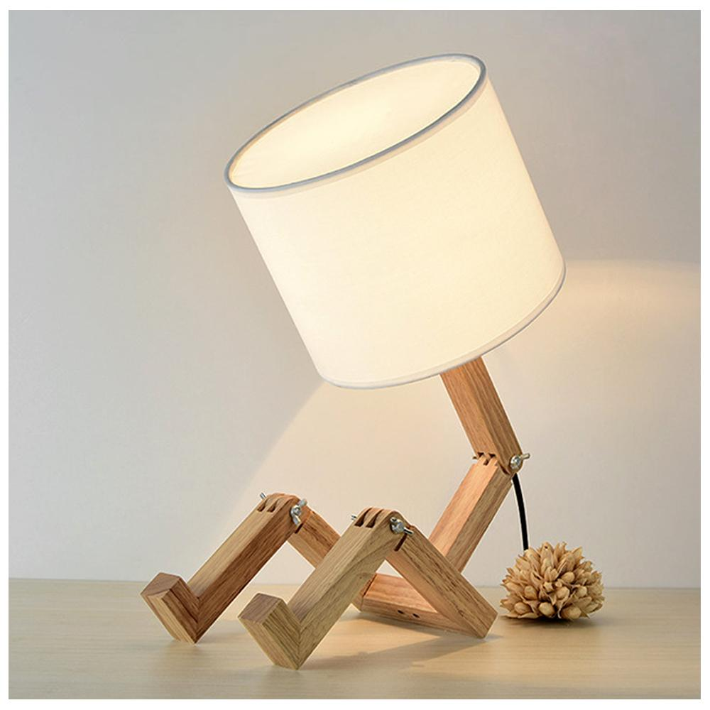 Modern Simple Wooden Table Lamp Bedroom Bedside Reading Lamp Cloth Lampshade Wood Base E27 Creative Led Table Light Desk Lamp Led Lamps