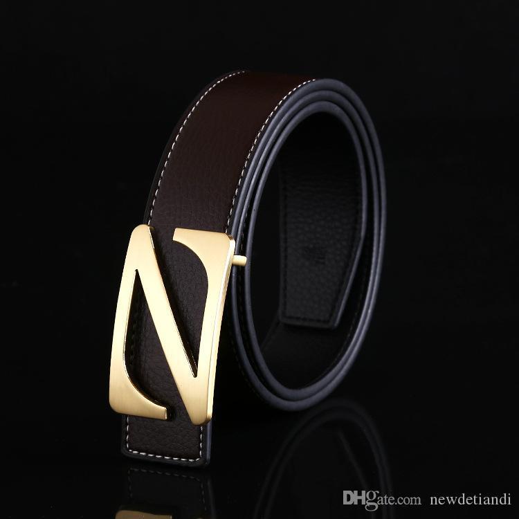 Ceinture pour hommes en cuir de ceinture pour hommes nouvelle lettre z boucle lisse en cuir de la mode coréenne de véritables modèles d'explosion