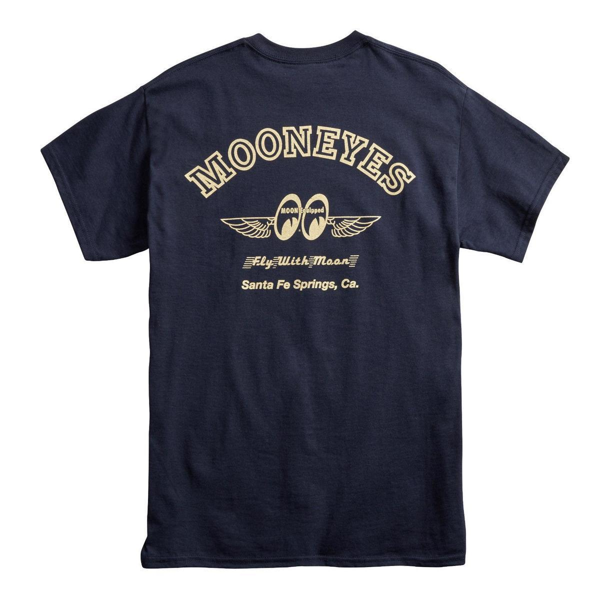 Mens Mooneyes Moon Equipped Fly With Moon T Shirt Navy Blue Cotton