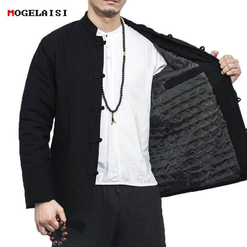 2fae30d5c508 Satın Al Kış Erkek Ceketler Keten Pamuk Kalın XXXL Ceket Adam Çin Tarzı Keten  Ceket Erkek Ceket Katı Standı Yaka Artı Boyutu M 5XL