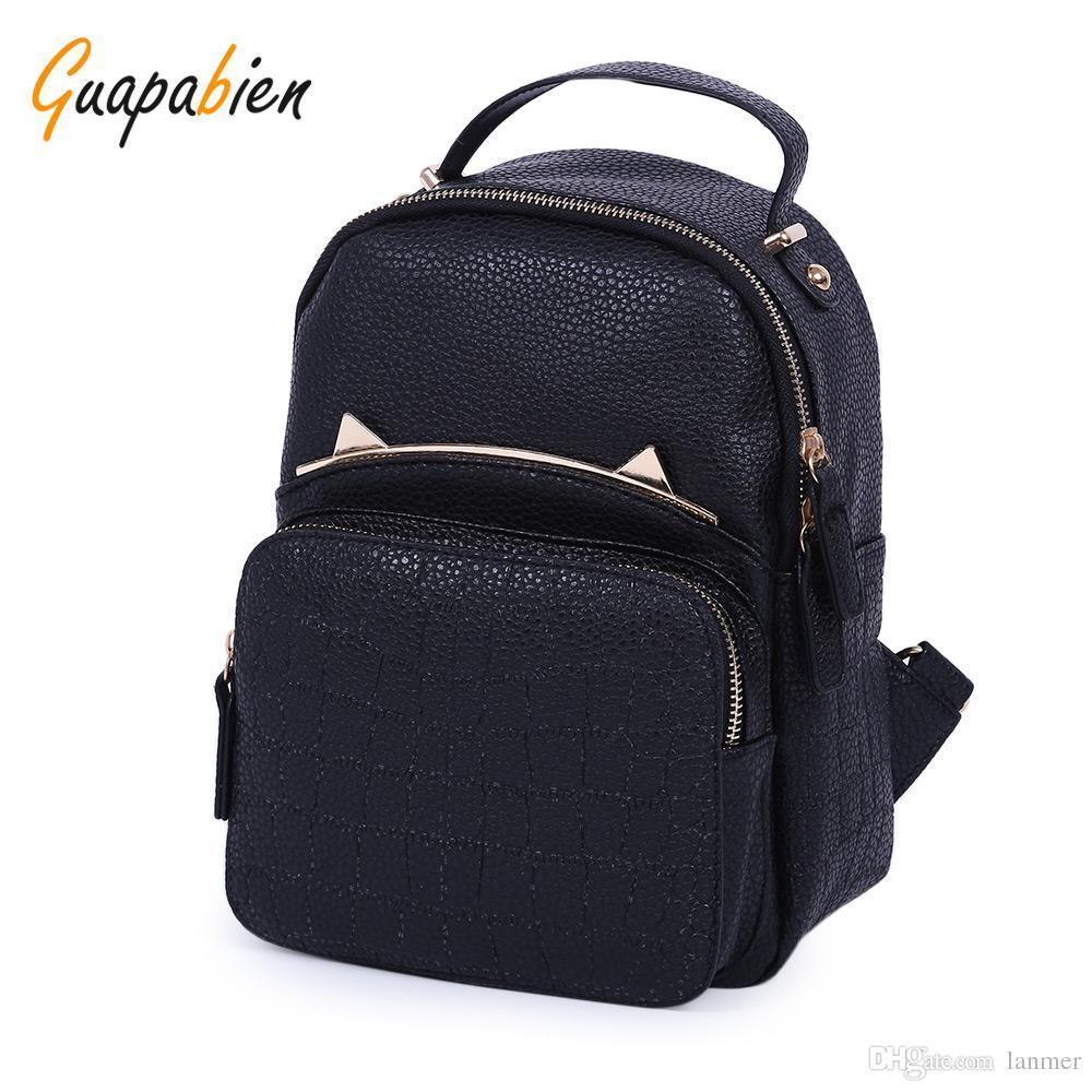 2384ac6854a9 Wholesale- Guapabien Kawaii Korean Japen Girl PU Leather Backpack ...