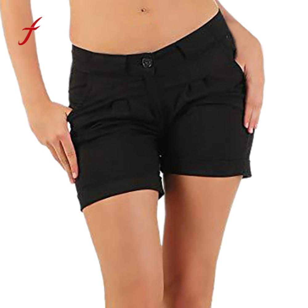 6db3323318a7 Feitong 2018 Moda Para Mujer Pantalones Cortos Ocasionales Señoras Sólidas  Bolsillo Plisado Botón de la Cremallera Cómoda cintura alta shorts ...