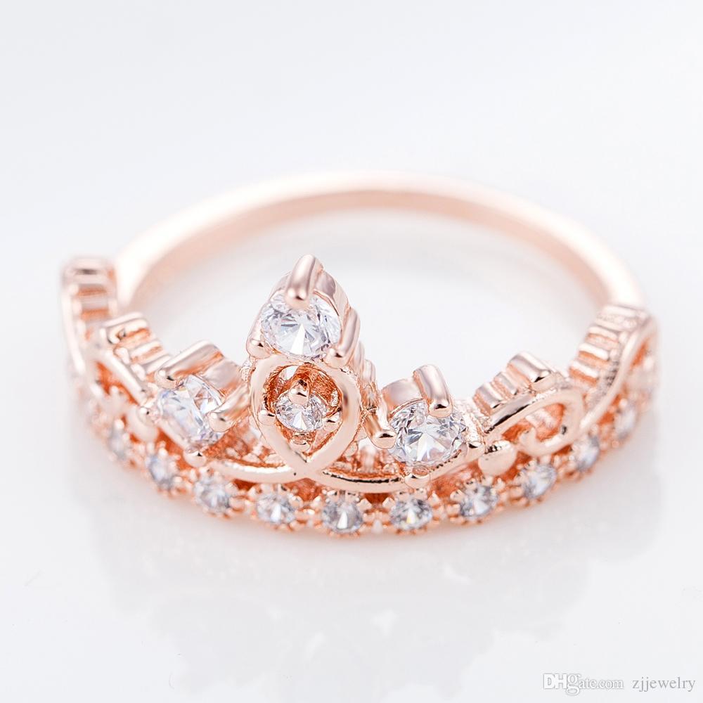 Diamond Crown Ring For Women Rose Gold Ring Crystal Finger Rings