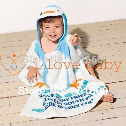 2018 Blue Penguin Baby Splash Wrap Bath Hooded Towel Robe From