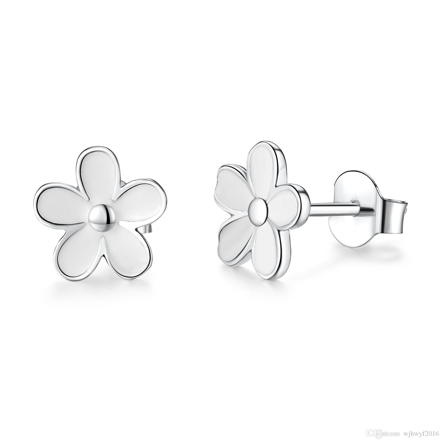 0c7253e0e 2018 New Spring Authentic 925 Sterling Silver White Daisy Stud Earrings For  Women Enamel Flower Earrings European Fine Jewelry Stud Earrings 925  Sterling ...