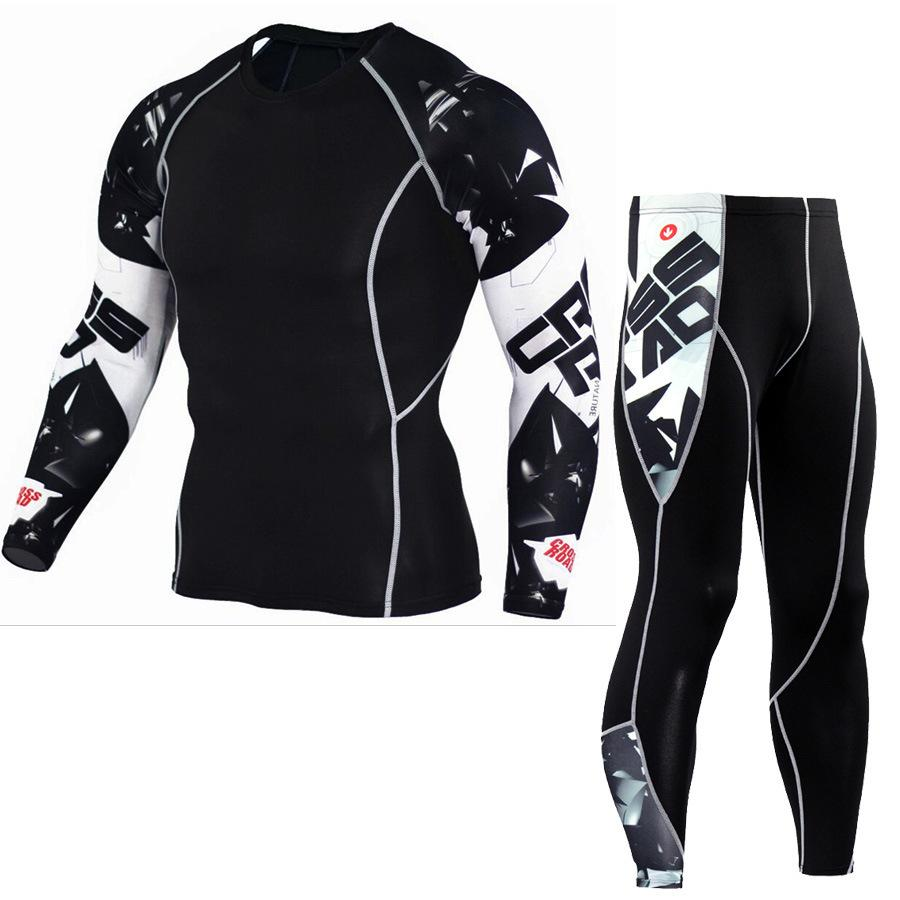 3a9789bb15448 3D Printing Men Running Set Bodybuilding Long Sleeve T-shirt Tights ...