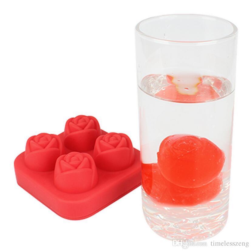 Yaratıcı 4 Delik 3D Gül Şekli Buz Kalıp Silikon Ice Cube Tepsi DIY Kek Çikolata Kalıp Makinesi Viski Şarap Barı Aksesuarla ...