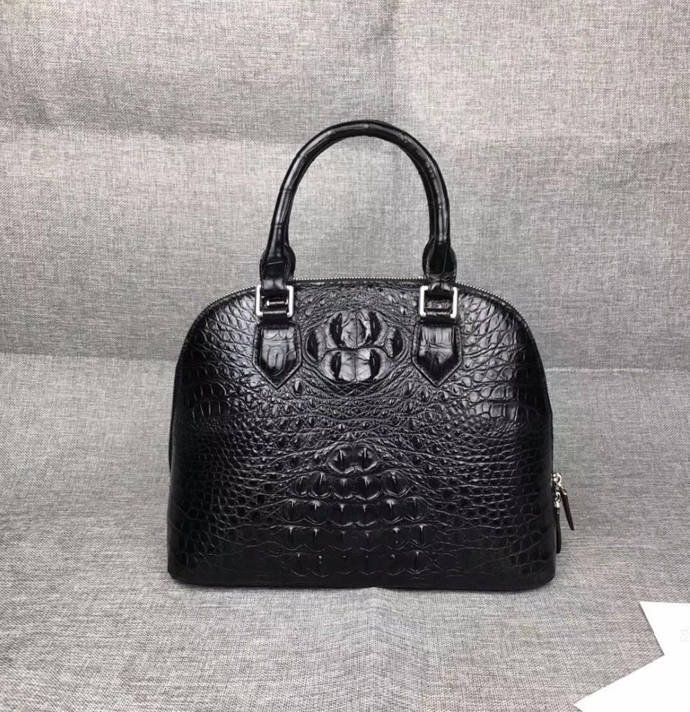 6b0f89a124f38 Luxury Designer 100% Genuine Crocodile Skin Exotic Alligator Leather Women S  Black Shell Bag Purse Ladies Shoulder Bag Handbag Discount Designer  Handbags ...