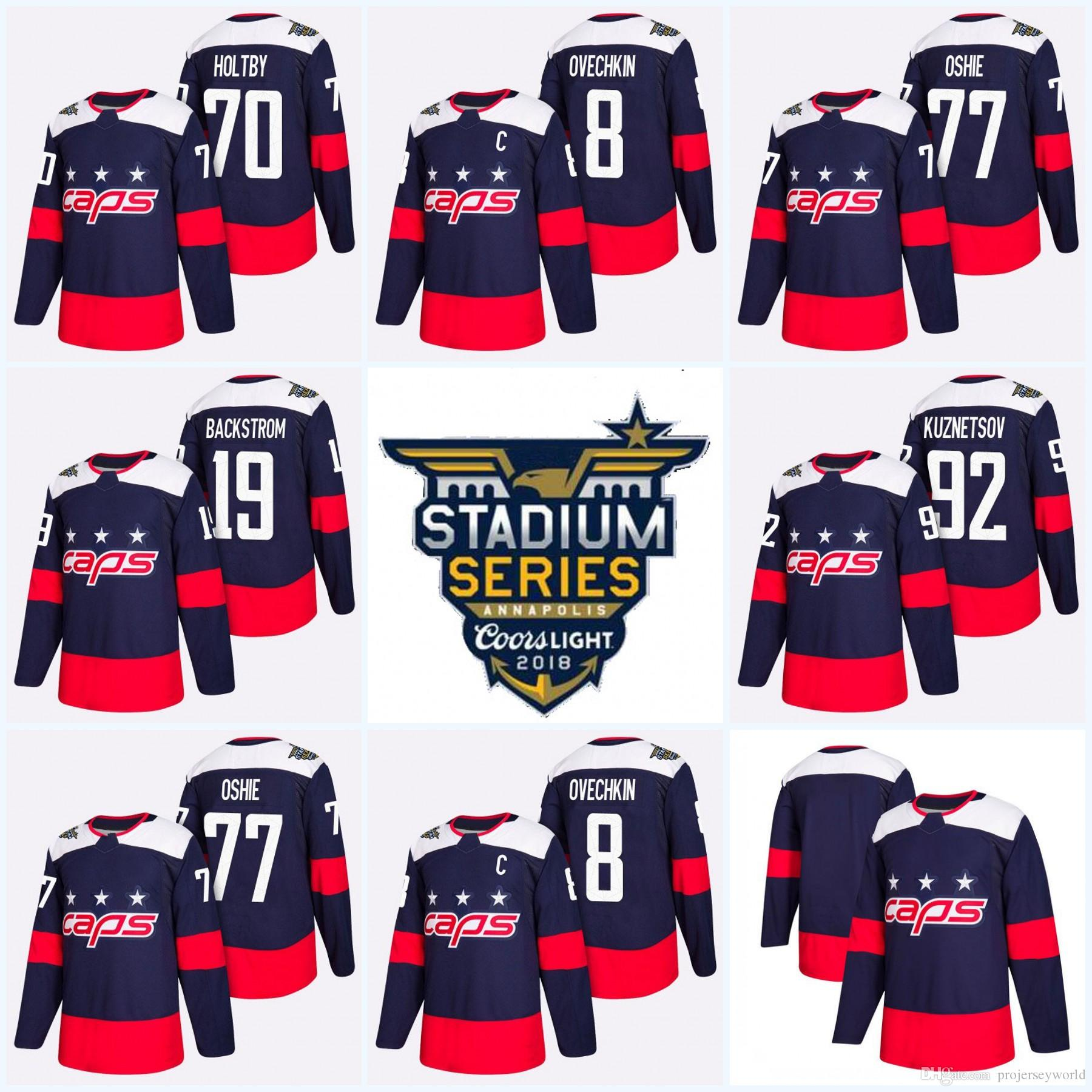 0ec7c89e467 2019 Youth 2018 Stadium Series Washington Capitals 19 Nicklas Backstrom 8 Alex  Ovechkin Evgeny Kuznetsov Braden Holtby T.J. Oshie Hockey Jersey From ...