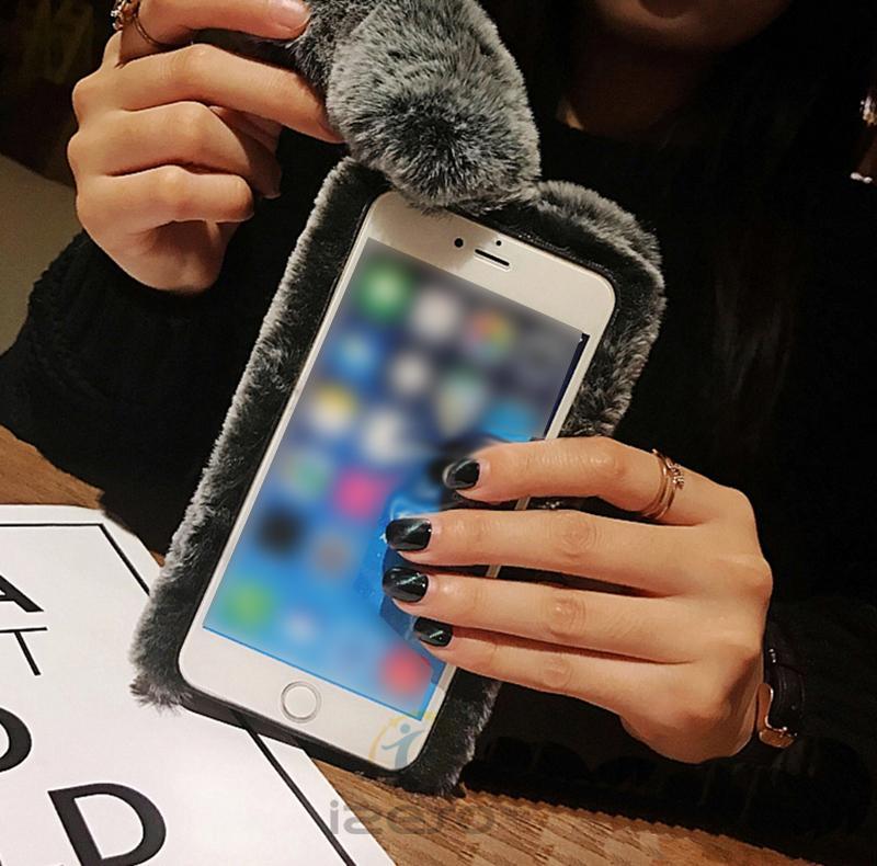 Étui de téléphone chaud lapin en peluche pour iPhone xs max xr x 8 7 6 s plus mignon 3D fourrure TPU couverture arrière pour les filles