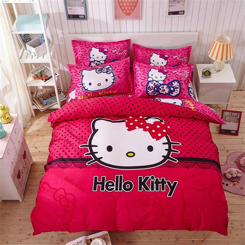 Wholesale Hello Kitty Cartoon Bedding Set Kids With Duvet Cover Bed Sheet  Set Of Bed Linen Bedsheet Bedspread Sheets Queen Twin Size Girls Bedding  Shabby ...