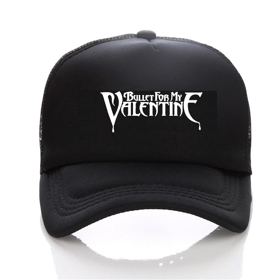f67f83ad501d3 Fashion Print Bullet For My Valentine Rock Baseball Cap Music Theme Women  Snapback Cap Mesh Trucker Hat Flexfit Cap Ny Caps From Qupeng9165