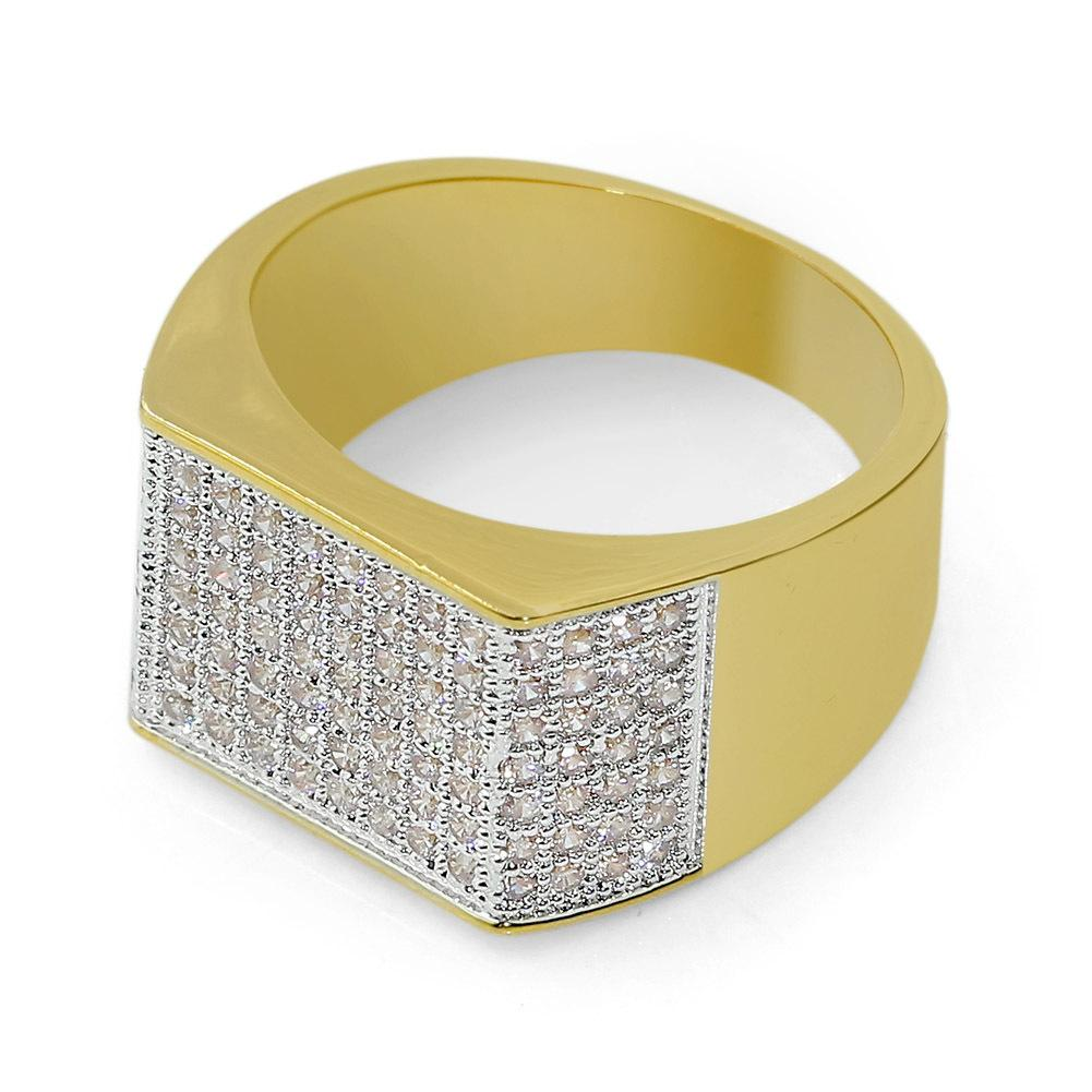 European and American hip hop ring diamond-encrusted ring titanium steel with gold-plated micro zircon rings.
