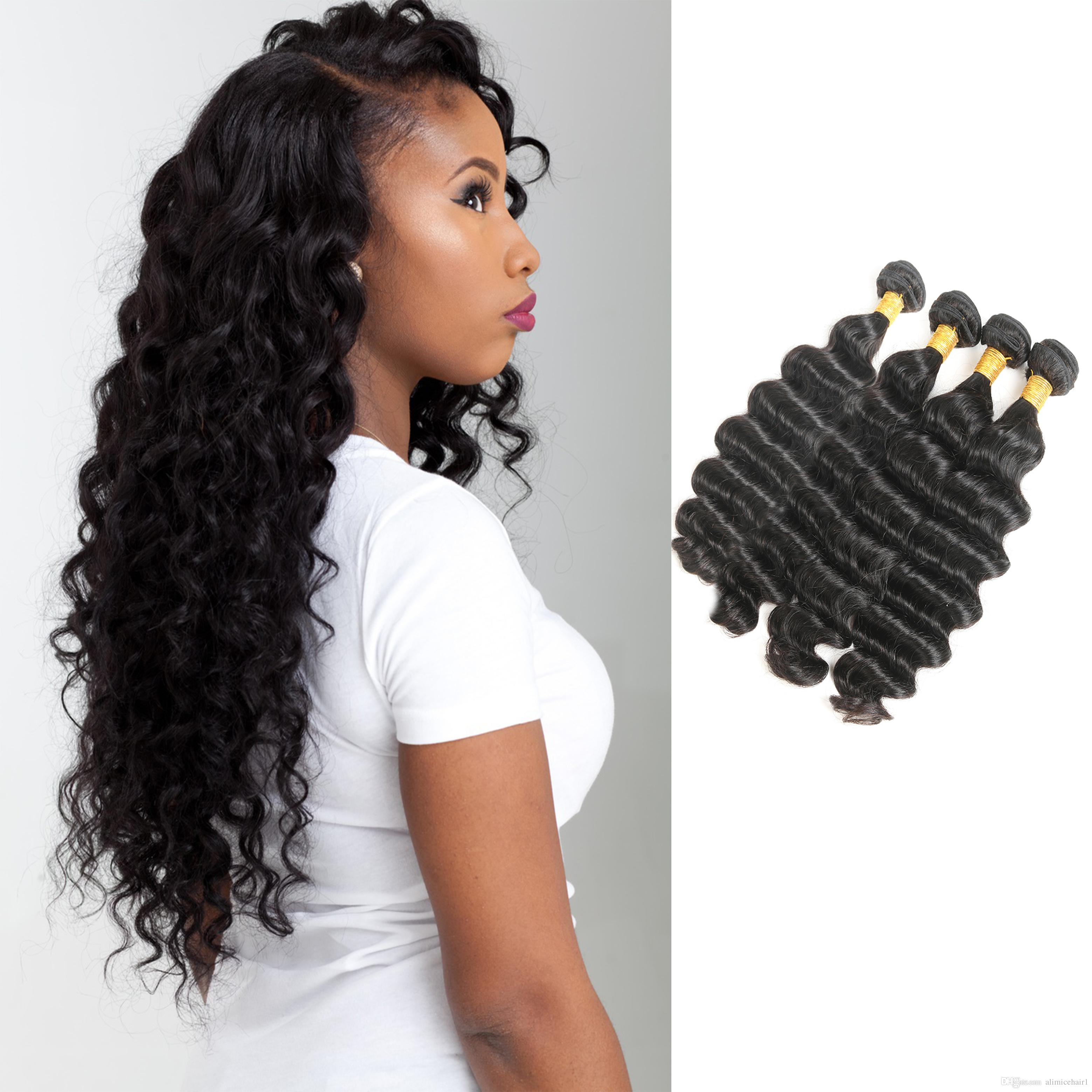Human Hair Weaves Peruvian Loose Deep Hair Weaves 3 Bundle With Closure Natural Color Loose Curly Ocean Wave Human Hair Free Middle 3 Part Closure Fine Craftsmanship