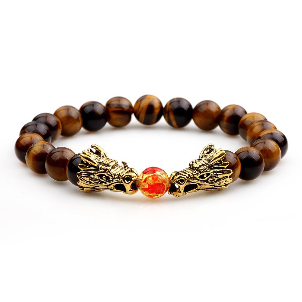 Natural Hematite Stone Beads Charms Bracelet For Women Men Double Dragon Playing A Ball Beaded Tiger eye Stone agate Bangle