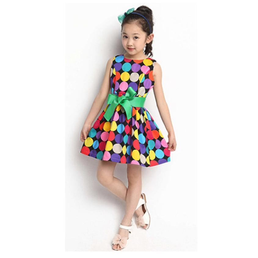 girls dresses summer Polka Dot Kids Sleeveless Dress Bow Swing dress cotton children clothing kids dresses for girls