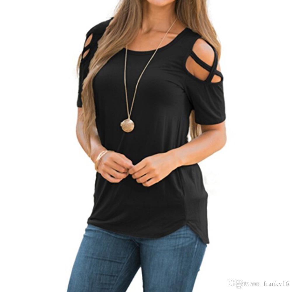 2018 Sommer neue Mode Frauen T Shirt Kurzarm Solid Loch Strap Casual Baumwolle T-Shirt Frauen Tops Größe S-2XL