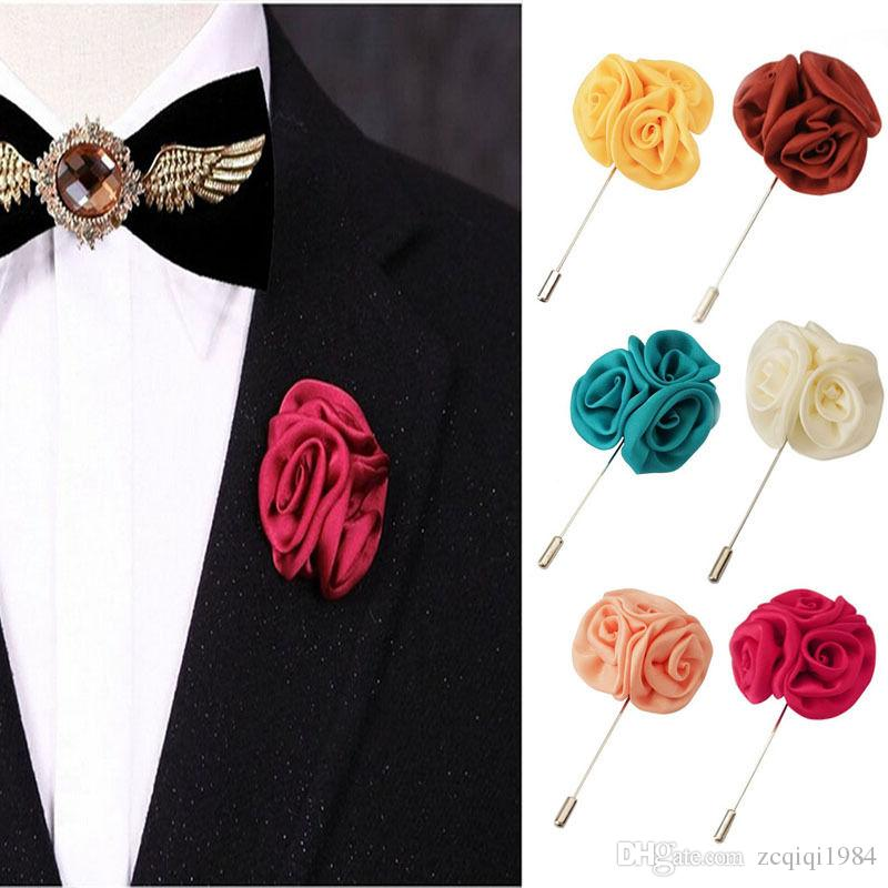 Trendy For Men Rose Daisy Handmade Boutonniere Stick Brooch Men's Suits Flower Brooches Pin Wedding Bridegroom Lapel Pin