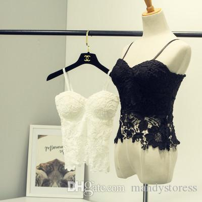 65654c25bb213b 2019 Wholesale New Arrival Floral Lace Bustier Top Bralet Strapless Bodycon  Crop Top Party Corset Bra 51 From Mandystoress