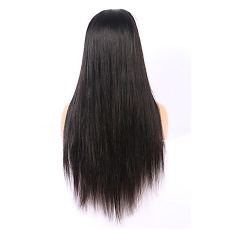 Natural negro 1b # largo sedoso recto pelucas llenas del cordón con el pelo del bebé resistente al calor sin cola sintética del frente del cordón pelucas para las mujeres negras