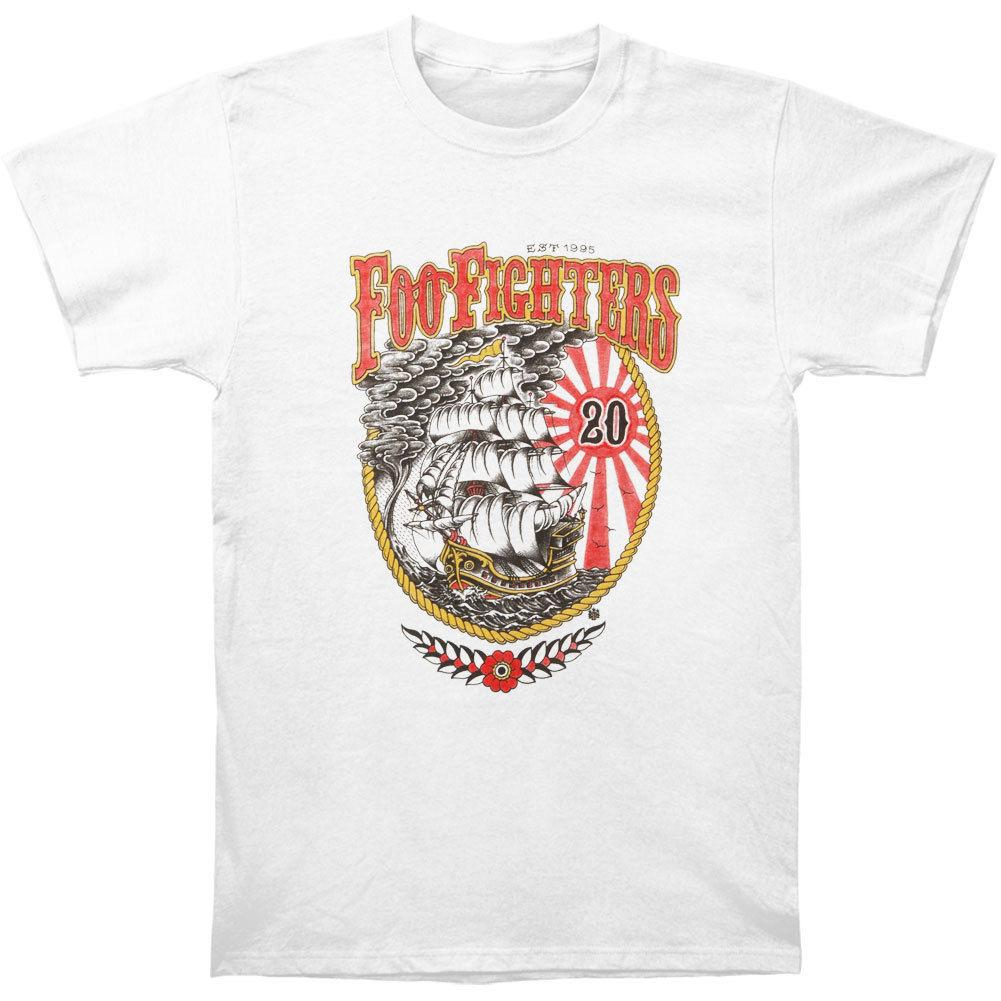 Foo Fighters Men's 20th Anniversary Ship Slim Fit T-shirt White 2018 New Pure Cotton Short Sleeves Hip Hop Fashion Mens T-Shirt