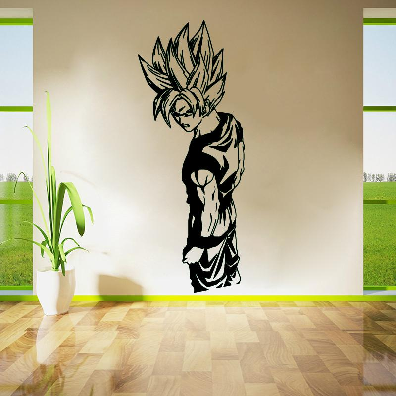 Adesivi murali Soggiorno Decor Wall Art Camera da letto Decalcomanie Carta  da parati in vinile rimovibile Super Saiyan Goku Dragon Ball Z, DBZ Anime
